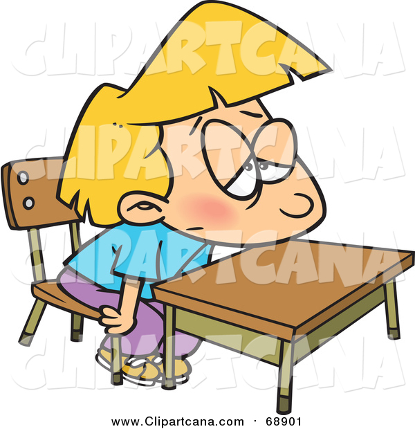 Cartoon Clip Art of a Bored Blond White School Girl at Her Desk