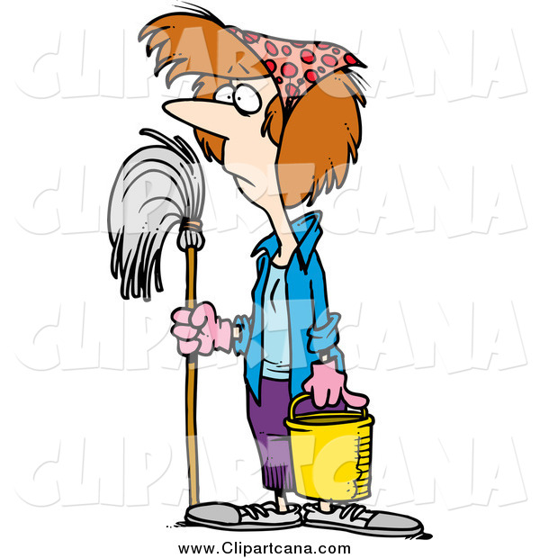 Cartoon Clip Art of a Caucasian Woman Ready for Spring Cleaning