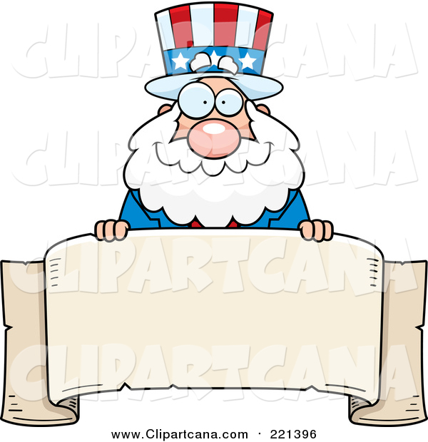 Cartoon Clip Art of a Chubby Uncle Sam over a Blank Parchment Banner