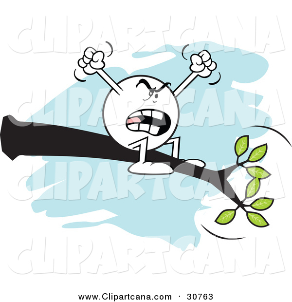 Cartoon Clip Art of a Complaining Moodie Character Emoticon out on a Limb