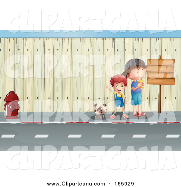 Cartoon Clip Art of a Dog and Caucasian Boys by a Sign on a Sidewalk