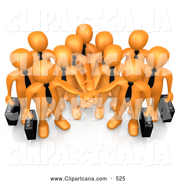Cartoon Clip Art of a Friendly Group of Orange Business People Carrying Briefcases and Standing with Their Hands Piled, Symbolizing Teamwork, Cooperation, Support, Unity and Goals