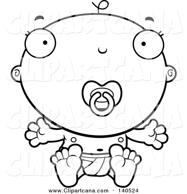 Cartoon Clip Art of a Lineart Baby Boy Infant with a Pacifier