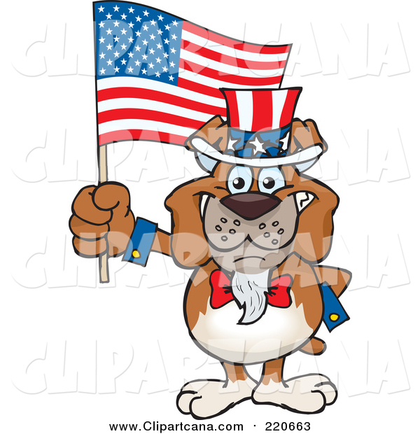 Cartoon Clip Art of a Patriotic Bulldog Waving an American Flag on Independence Day