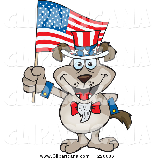 Cartoon Clip Art of a Patriotic Uncle Sam Canine Waving an American Flag