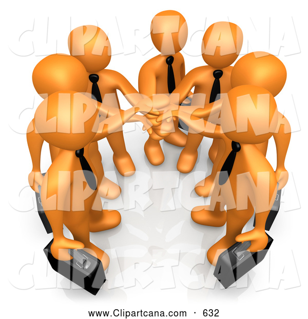 Cartoon Clip Art of a Proud Group of Seven Orange Businessmen Carrying Briefcases and Standing with Their Hands Together, Symbolizing Teamwork, Cooperation, Support