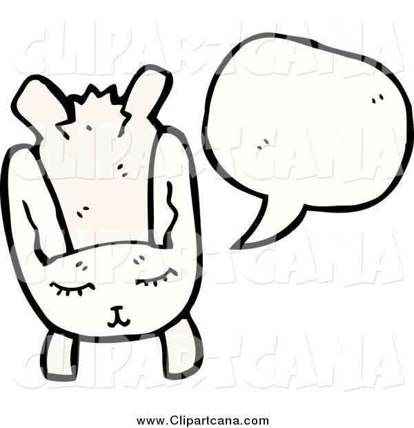 Cartoon Clip Art of a Talking White Rabbit