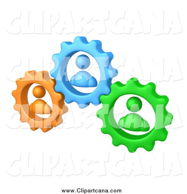 Clip Art of 3d Green, Orange and Blue People in Gears, Working Together to Solve a Problem
