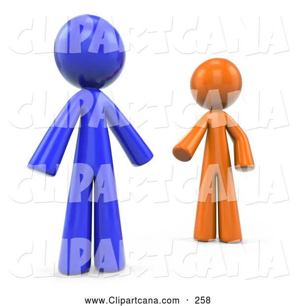 Clip Art of 3d Orange and Blue Factor Men Reaching out to Each Other