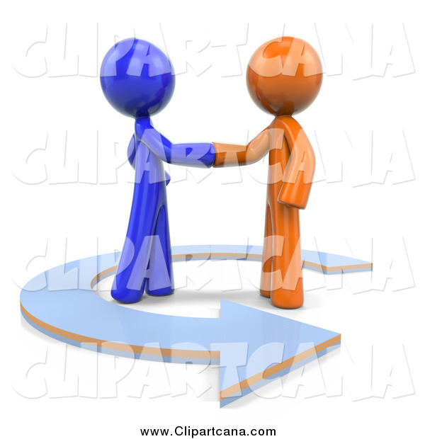 Clip Art of 3d Orange and Blue Men Shaking Hands in a Circle Arrow