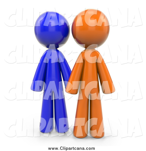 Clip Art of 3d Orange and Blue People
