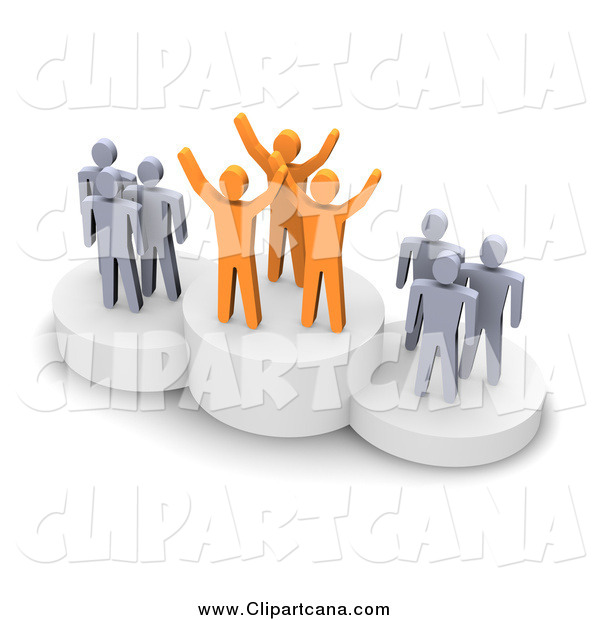 Clip Art of 3d Orange and Gray People on Placement Platforms