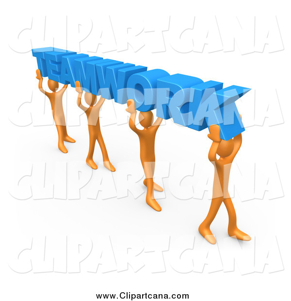 Clip Art of 3d Orange Guys Carrying Blue TEAMWORK
