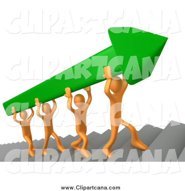 Clip Art of 3d Orange Men Carrying a Green Arrow up Stairs