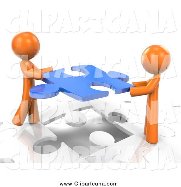 Clip Art of 3d Orange Men Inserting a Blue Piece into a Jigsaw Puzzle
