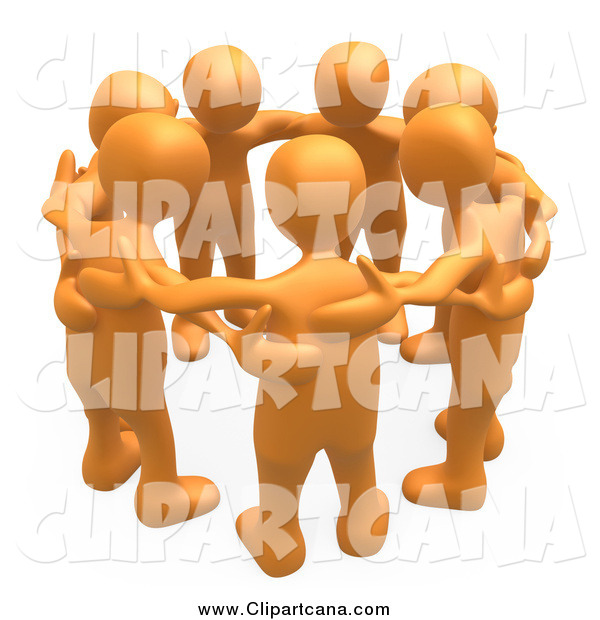 Clip Art of 3d Orange People Huddling