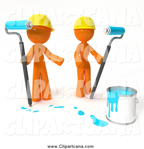 Clip Art of 3d Orange People Working with Blue Paint