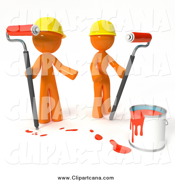 Clip Art of 3d Orange Professional Painters with a Bucket of Red Paint and Roller Brushes