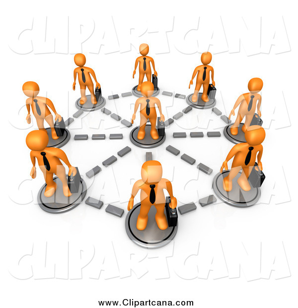 Clip Art of a 3d Circle of Networked Orange Business Men