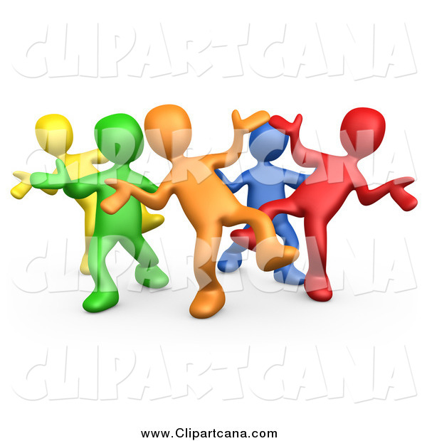Clip Art of a 3d Colorful Group Dancing and Having Fun at a Party