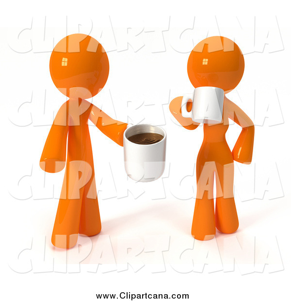 Clip Art of a 3d Couple Standing and Drinking Coffee