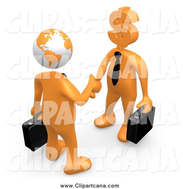 Clip Art of a 3d Globe Headed Orange Businessman Shaking Hands with a Dollar Head Man