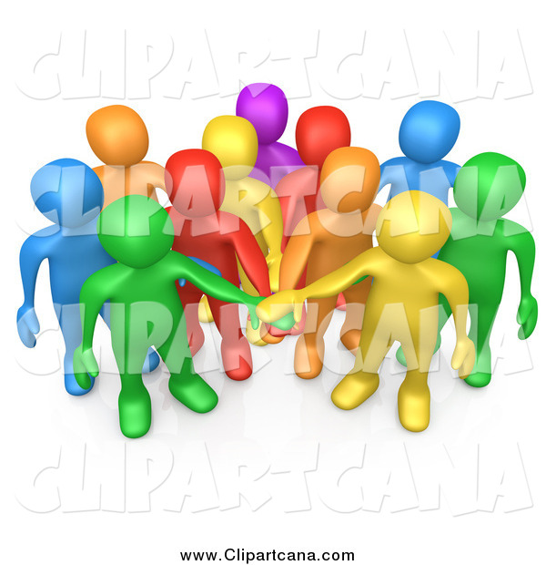 Clip Art of a 3d Group of Diverse People Putting Their Hands in a Pile