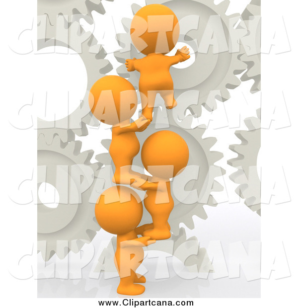 Clip Art of a 3d Group of Orange People Working with Gears