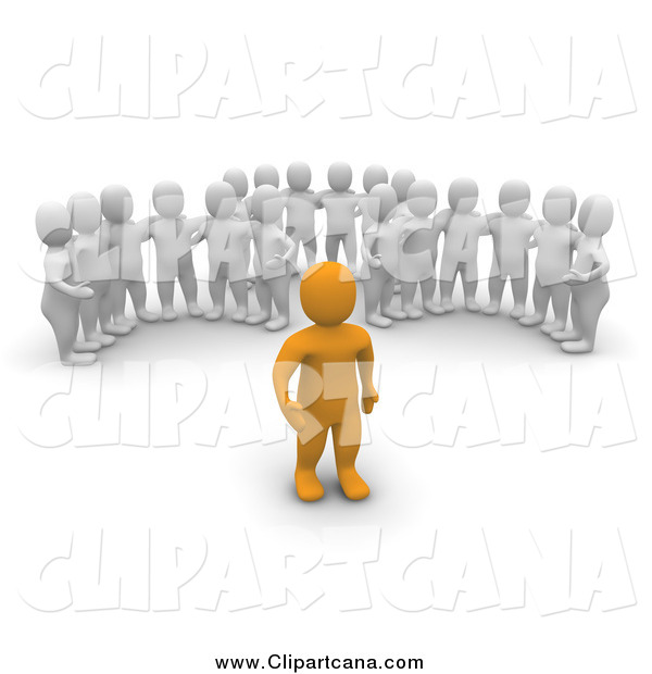 Clip Art of a 3d Groups of White Men Watching an Orange Leader Man