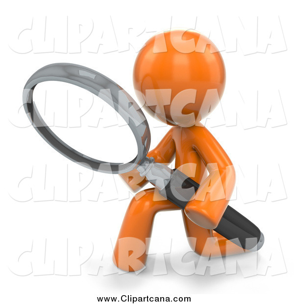 Clip Art of a 3d Kneeling Orange Guy Searching with a Magnifying Glass