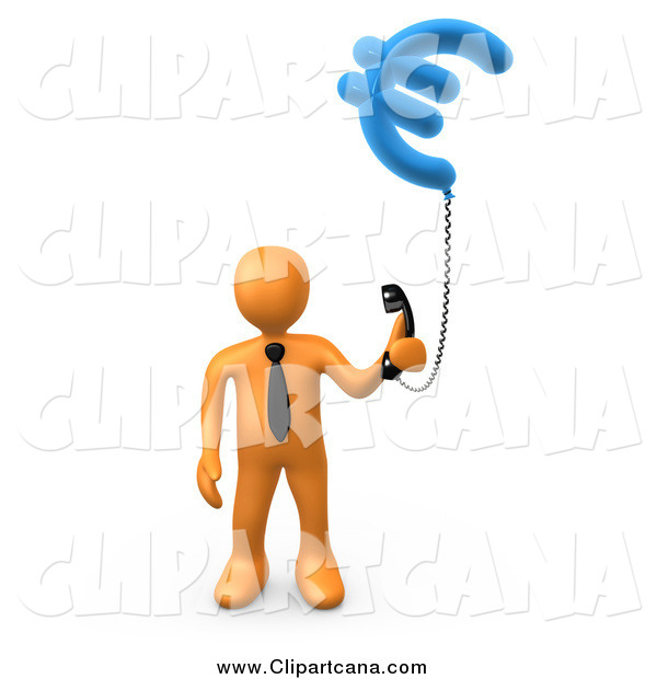 Clip Art of a 3d Orange Business Man Holding a Euro Currency Phone