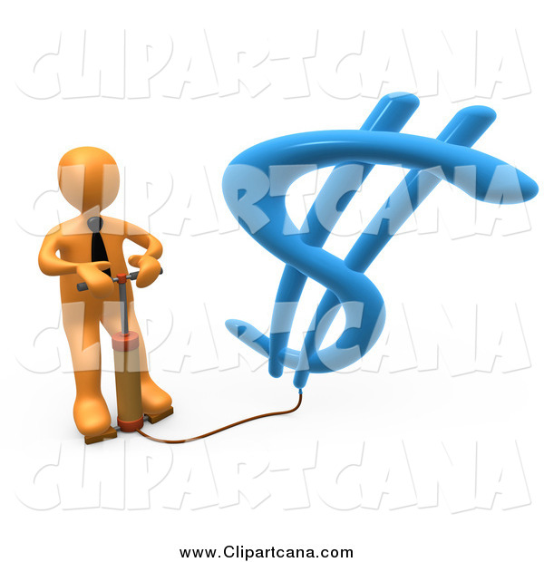 Clip Art of a 3d Orange Business Man Inflating a Dollar Symbol with a Pump