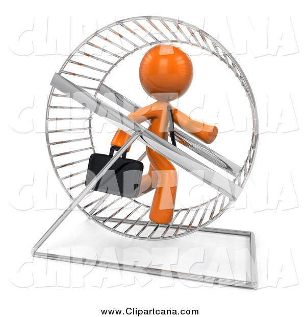 Clip Art of a 3d Orange Business Man Running in a Hamster Wheel
