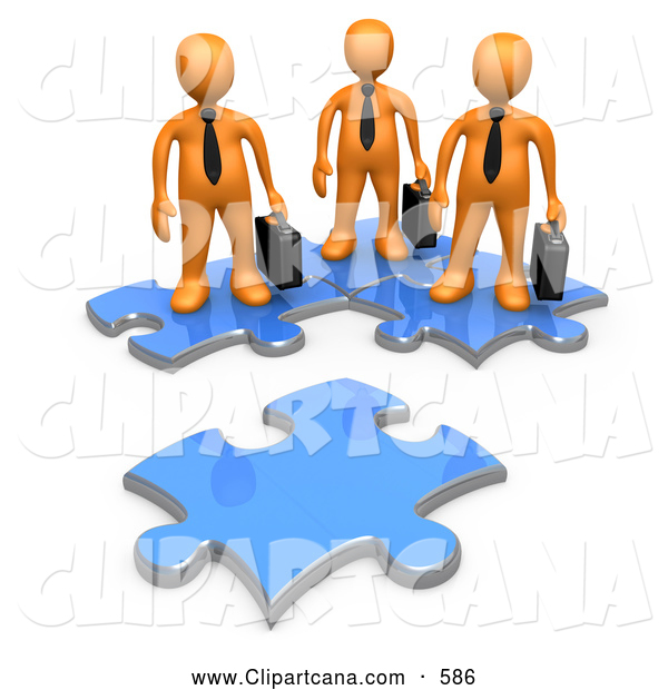 Clip Art of a 3d Orange Business Men Standing on Connected Puzzle Pieces, Looking at a New Piece