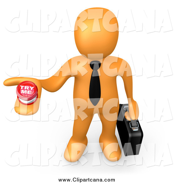 Clip Art of a 3d Orange Businessman Job Hunter Holding a Try Me Button