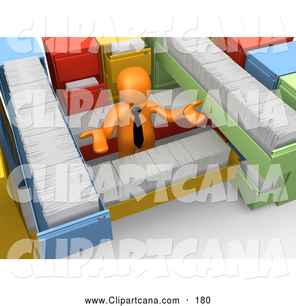 Clip Art of a 3d Orange Businessman Shrugging and Surrounded by Long Filing Cabinet Drawers