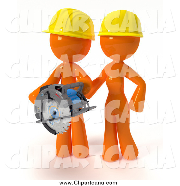 Clip Art of a 3d Orange Construction Couple Using a Saw During a Home Improvement Project