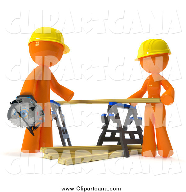 Clip Art of a 3d Orange Couple Putting Lumber on a Saw Horse