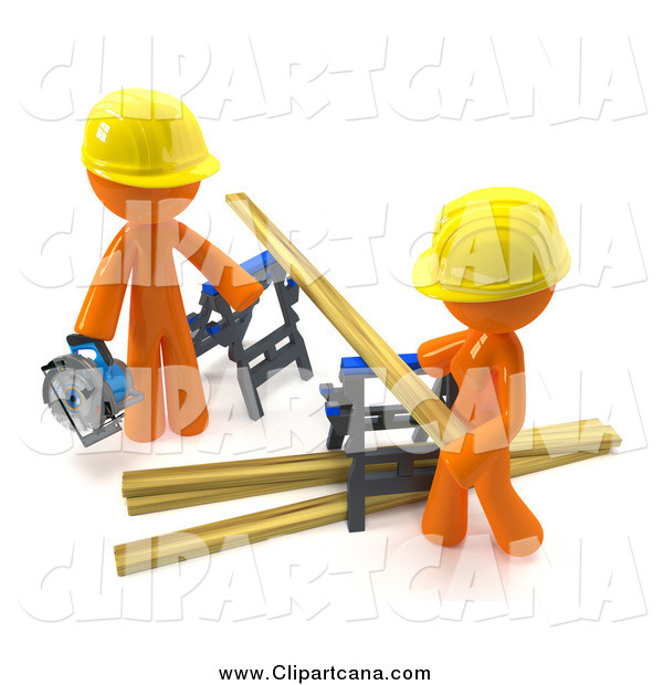 Clip Art of a 3d Orange Couple Sawing Lumber Together