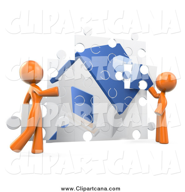 Clip Art of a 3d Orange DIY Couple Assembling Their Puzzle House