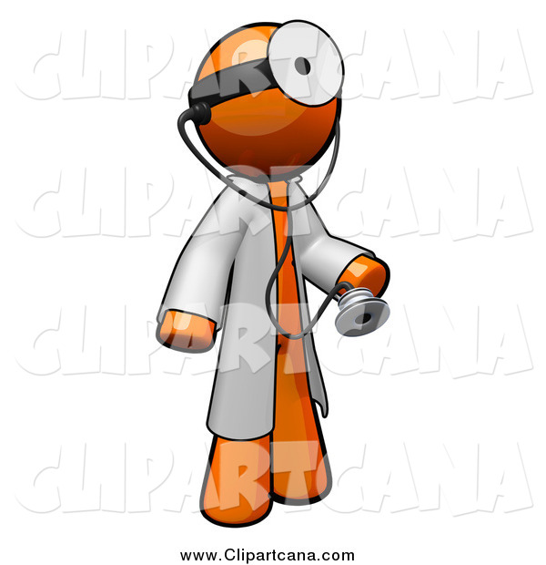 Clip Art of a 3d Orange Doctor with a Stethoscope Wearing a Jacket and Head Mirror
