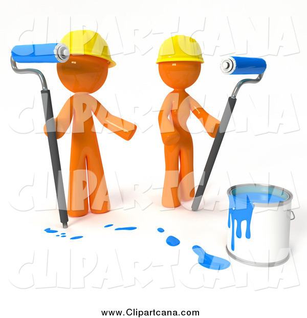 Clip Art of a 3d Orange Guy and Gal Painting with Blue Paint