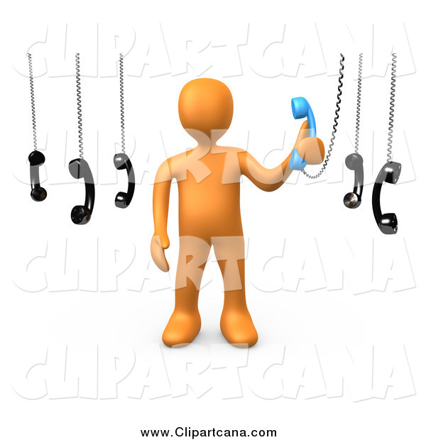 Clip Art of a 3d Orange Guy Answering an Important Call