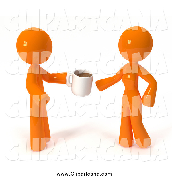 Clip Art of a 3d Orange Guy Giving a Woman Coffee