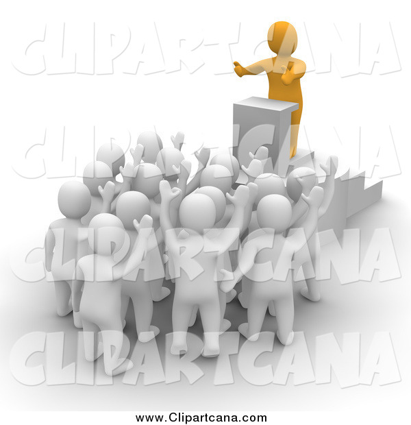 Clip Art of a 3d Orange Leader Man Speaking to an Audience