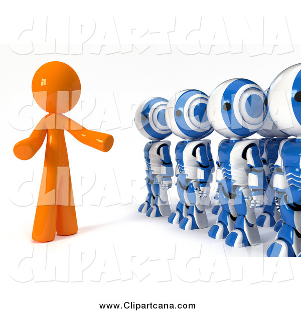 Clip Art of a 3d Orange Leader Speaking to a Line of Ao-Maru Robots