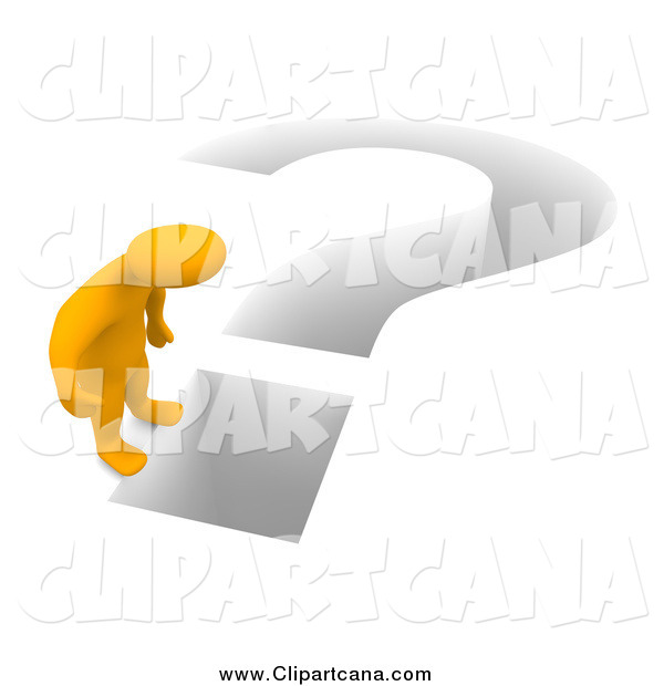 Clip Art of a 3d Orange Man and Deep Question Mark
