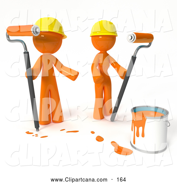 Clip Art of a 3d Orange Man and Woman Painting