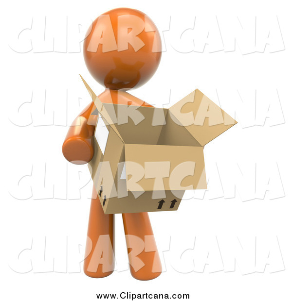 Clip Art of a 3d Orange Man Carrying a Box