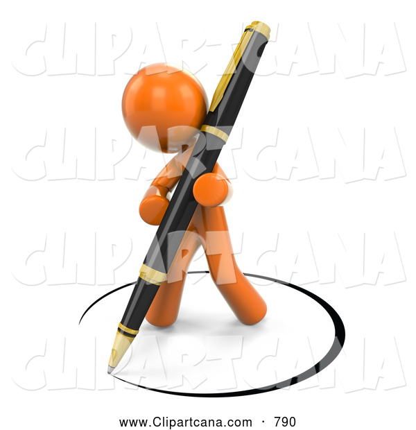 Clip Art of a 3d Orange Man Drawing a Circle of Ink Around Himself with a Pen